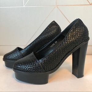 Opening Ceremony Leather Woven Chantal Pumps